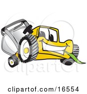 Yellow Lawn Mower Mascot Cartoon Character Facing Front And Chewing On A Blade Of Grass