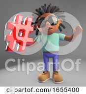 Internet Minded Black Man With Dreadlocks Holding A Hash Hashtag Symbol