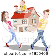 Family Carrying A House