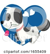 Poster, Art Print Of Black And White Dog Holding A Pink Rose In His Mouth Vector Illustration In Blue Heart On White Background