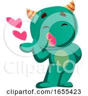 Green Monster Sending Kisses Vector Illustration