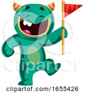 Green Monster Holding A Flag Vector Illustration by Morphart Creations