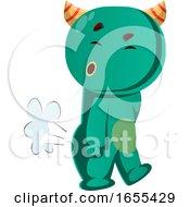 Green Monster Farting Vector Illustration