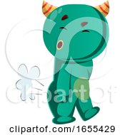 Green Monster Farting Vector Illustration by Morphart Creations
