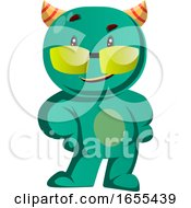 Cool Green Monster With Sunglasses Vector Illustration