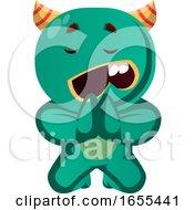 Green Monster Begging Vector Illustration