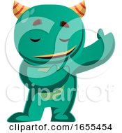 Green Monster Bowing For A Lady Vector Illustration