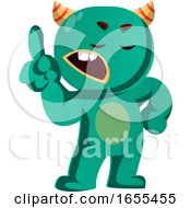 Wait A Minute Green Monster Is Gesturing Vector Illustration
