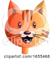 Happy Red Cartoon Cat Vector Illustration by Morphart Creations