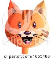Happy Red Cartoon Cat Vector Illustration
