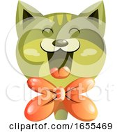 Happy Green Cat With Orange Bowtie Vector Illustration