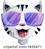 Happy Cartoon Act With Purple Sunglasses Vector Illustration