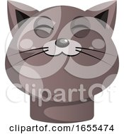 Cartoon Grey Cat Vector Illustration On White Backgorund by Morphart Creations