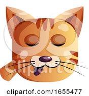 Sleepy Orange Cat Vector Illustration