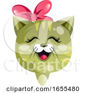 Cartoon Cat With Tie On Her Head Vector Illustration