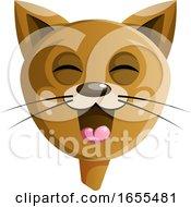 Brown Cartoon Happy Cat Vector Illustration by Morphart Creations