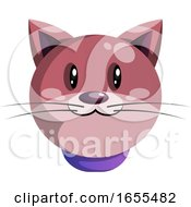 Simple Purple Cartoon Cat Vector Illustration by Morphart Creations
