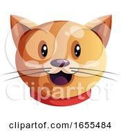 Smiling Cartoon Orange Cat Vector Illustration by Morphart Creations