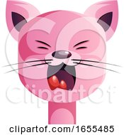 Angry Pink Cartoon Cat Vector Illustration