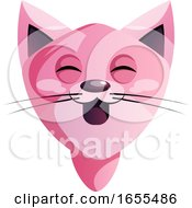 Happy Pink Cartoon Cat Vector Illustration by Morphart Creations