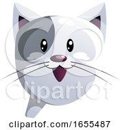 Happy Grey Cartoon Cat Vector Illustration by Morphart Creations