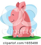 Happy Pig Sitting On A Grass Chinese New Yearillustration Vector by Morphart Creations