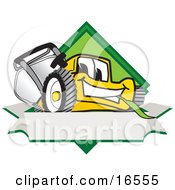 Clipart Picture Of A Yellow Lawn Mower Mascot Cartoon Character Facing Front On A Diamond Shaped Logo With A Blank White Banner by Toons4Biz