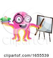 Teacher Octopus Holding A Lesson Illustration Vector