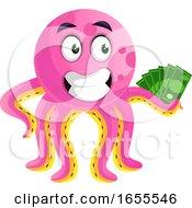 Octopus Hodling Money Illustration Vector