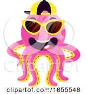 Octopus With Sunglasses And Hat Illustration Vector by Morphart Creations