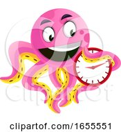 Octopus Holding A Clock Illustration Vector by Morphart Creations