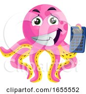 Pink Octopus With A Calculator Illustration Vector by Morphart Creations