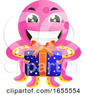 Pink Octopus With A Present Illustration Vector by Morphart Creations