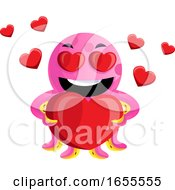 Pink Octopus In Love Illustration Vector