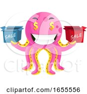 Octopus With Sale Signs Illustration Vector by Morphart Creations