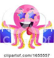 Pink Octopus With Shoping Bags Illustration Vector by Morphart Creations