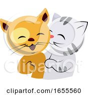 Yellow And White Cat In Love Illustration Vector by Morphart Creations