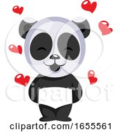Little Panda Bear In Love Illustration Vector