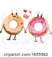 Couple Of Donut In Love Illustration Vector by Morphart Creations