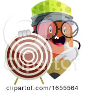 Ped Pencil Holding Dartboard That Is Red And White Colored Illustration Vector
