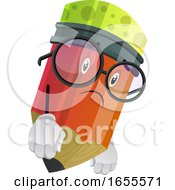 Red Pencil Look Disappointed Illustration Vector