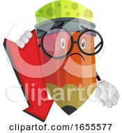 Sad Pencil Holding Red Pointer Pointing Down Illustration Vector