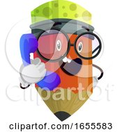 Red Pencil Wearing Glasses And Talking On The Phone Illustration Vector by Morphart Creations