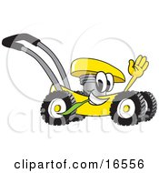 Clipart Picture Of A Yellow Lawn Mower Mascot Cartoon Character Passing By And Waving by Toons4Biz