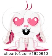 Poster, Art Print Of White Bunny In Love Illustration Vector