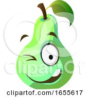 Green Pear Winks Illustration Vector