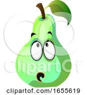 Green Pear Cartoon Face Thinking Illustration Vector