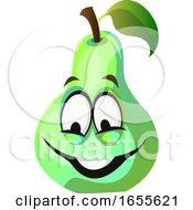 Green Pear Cartoon Face Smiling Illustration Vector