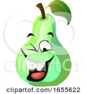 Green Pear Cartoon Face Laughing Illustration Vector
