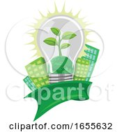 Poster, Art Print Of Vector Of Green Leaf And Earth In Lightbulb In Front Of Buildings